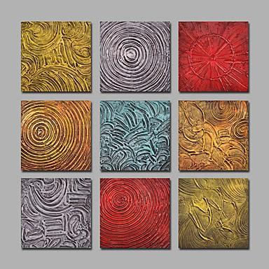 Hånd-malede Abstrakt Firkantet,Moderne Mere End Fem Paneler Kanvas Hang-Painted Oliemaleri For Hjem Dekoration