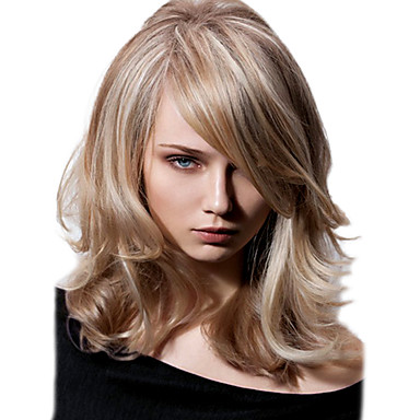 Damen Synthetische Perücken Große Wellen Blond Mit Pony Kostümperücke