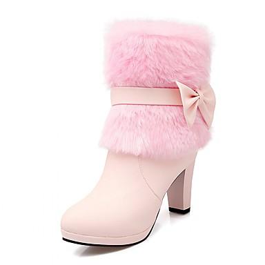 Støvler-laklæder Kunstlæder-Komfort Originale Cowboystøvler Snowboots Basispumps Ridestøvler Modestøvler-Dame-Rosa Hvid Beige-Bryllup