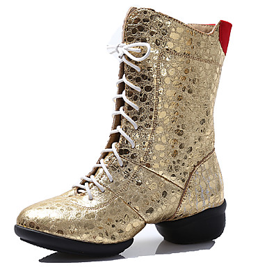 Dames Moderne dansschoenen / Danslaarzen Kunstleer Laarzen / Gesplitste zool Veters Lage hak Niet aanpasbaar Dansschoenen Zilver / Gouden