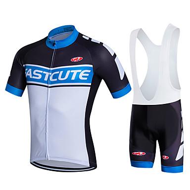 Fastcute Herrn / Damen / Unisex Kurzarm Fahrradtrikot mit Trägerhosen - Schwarz Fahhrad Bib - Shorts / Kurze radhose MIT Trägern /