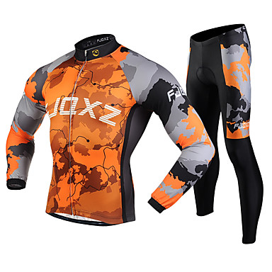 FJQXZ Herrn Langarm Fahrradtrikots mit Fahrradhosen - Orange Fahhrad Kleidungs-Sets, 3D Pad, warm halten Vlies