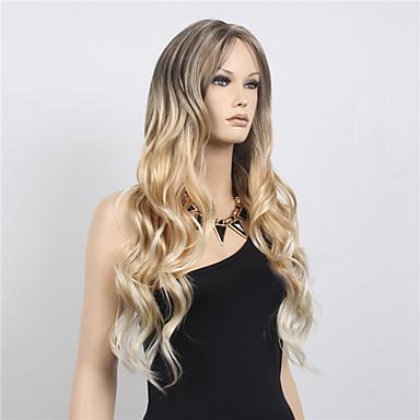 Synthetische Perücken Wellen Stil Asymmetrischer Haarschnitt Kappenlos Perücke Blond Blond Synthetische Haare Damen Modisches Design Blond Perücke Lang Natürliche Perücke