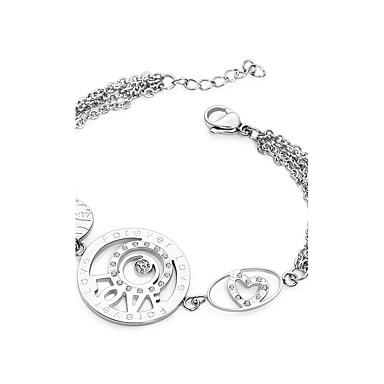 Heren Dames Bedelarmbanden Liefde Hart Luxe Sieraden Modieus Titanium Staal imitatie Diamond Hartvorm Liefde Zilver Sieraden VoorFeest