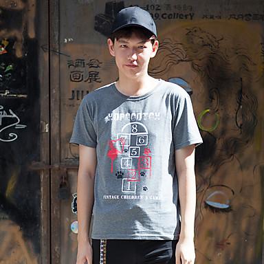 WOWTEE Heren Ronde hals Korte mouw T-shirt Grijs / Marineblauw-WT-TX015
