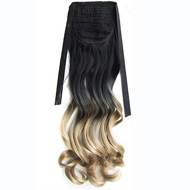 Mit Clip Wellen Pferdeschwanz Synthetik Haarstück Haar-Verlängerung 22 Zoll Goldenblond
