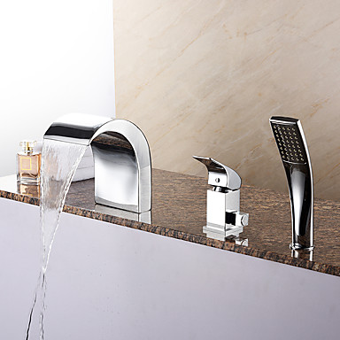 Badekarskran - Moderne Krom Romersk kar Keramisk Ventil Bath Shower Mixer Taps / Messing / Enkelt håndtak tre hull