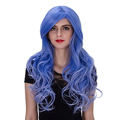 Mulher Perucas sintéticas Sem Touca Longo Azul Perucas Capless Perucas para Fantasia