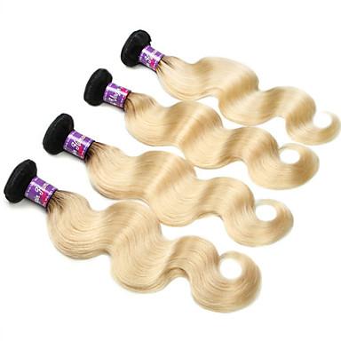 Cabelo Malaio Onda de Corpo Tramas de cabelo humano 4 Peças 0.4