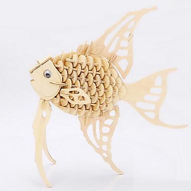 voordelige 3D-puzzels-Legpuzzels 3D-puzzels Houten puzzels Bouw blokken DHZ-speelgoed Vissen Hout