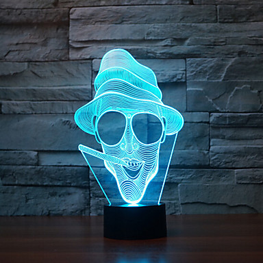 roken touch dimmen 3d led-nachtlampje 7colorful decoratie sfeerlamp nieuwigheid verlichting licht