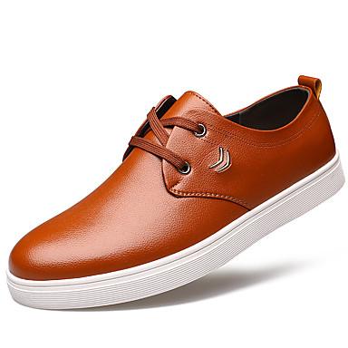 Heren Platte schoenen Lente / Zomer / Herfst / Winter Comfortabel Leer Kantoor & Werk / Informeel Platte hak VetersZwart / Geel /