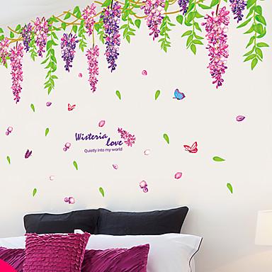 diy romantische blauweregen sticker pvc muursticker voor bloem kunst aan de muur woondecoratie