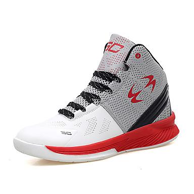 Masculino-Tênis-Conforto-Rasteiro-Branco Azul Preto e Branco Preto e Vermelho-Couro Ecológico Tecido-Ar-Livre Casual Para Esporte