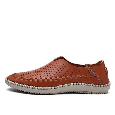 Homens sapatos Pele Primavera Verão Outono Mocassins e Slip-Ons Caminhada Botas Curtas / Ankle Combinação para Branco Marron Azul Marinho
