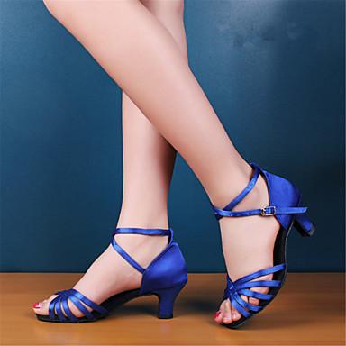 baratos Shall We® Sapatos de Dança-Mulheres Sapatos de Dança Cetim Sapatos de Dança Latina / Sapatos de Salsa Salto Salto Robusto Não Personalizável Preto / Vermelho / Azul Real / Couro / EU42