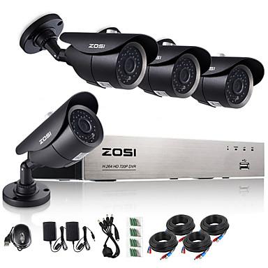 zosi®8ch 720p HDMI ahd CCTV 4pcs DVR 1.0 mp sistema de vigilância câmera de segurança ao ar livre ir