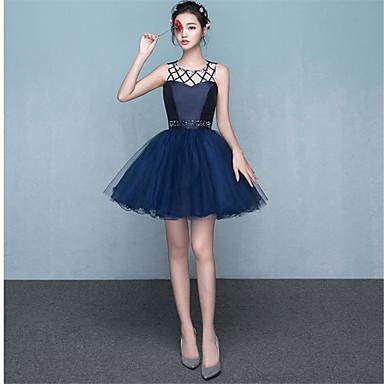 A-line jewel neck short / mini vestido de cetim vestido de cetim com beading