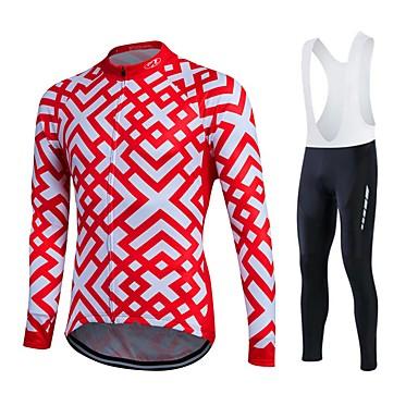 Fastcute Herre Dame Langærmet Cykeltrøje og tights med seler Cykel Tights Med Seler Tights Trøje Tøjsæt, 3D Måtte, Hurtigtørrende,