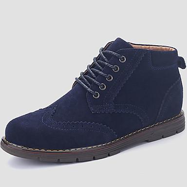 Herrn Schuhe Stoff Winter Herbst Komfort Stiefel Schnürsenkel für Normal Braun Grün Blau Kamel