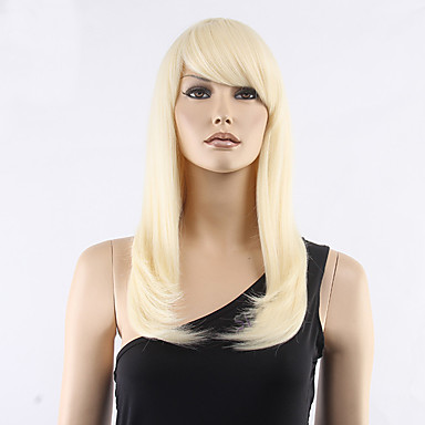 Syntetiske parykker Lige Med bangs / pandehår Massefylde Lågløs Dame Blond Naturlig paryk Medium Syntetisk hår