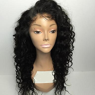 povoljno Perike i ekstenzije-Ljudska kosa Full Lace Perika stil Kinky Curly Perika Prirodna linija za kosu Afro-američka perika 100% rađeno rukom Žene Kratko Srednja dužina Perike s ljudskom kosom