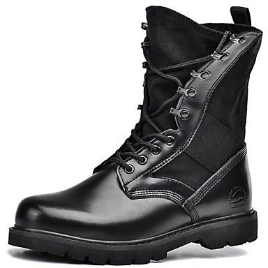 Unisex Zapatos Cuero de Napa Primavera / Verano / Otoño Botas Tacón Cuadrado Con Cordón Negro