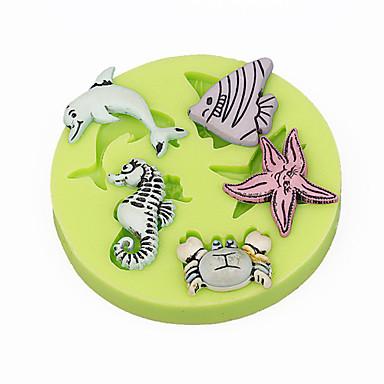 シールシーフーズシーホースシェルカップケーキの装飾シリコーンフォンダン金型ツールキャンディー色をランダムに作る