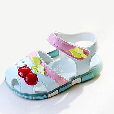 Para Meninas sapatos Couro Ecológico Verão Sandálias Laço Para Casual Branco Azul Rosa claro