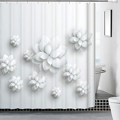 Duschvorhänge Modern Poly /  Baumwollmischung Blumen/Pflanzen Maschinell gefertigt