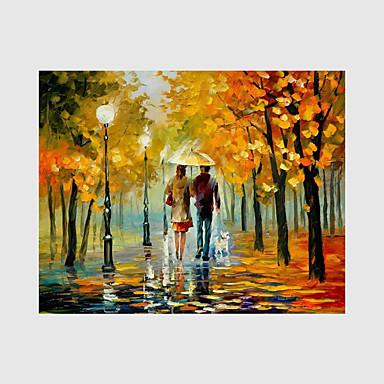 Handgeschilderde Landschap Horizontaal, Modern Kangas Hang-geschilderd olieverfschilderij Huisdecoratie Eén paneel