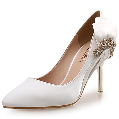 Damen Schuhe Seide / Glanz Frühling / Herbst High Heels Walking Stöckelabsatz Kristall / Glitter Weiß / Schwarz / Rot / Hochzeit / Kleid