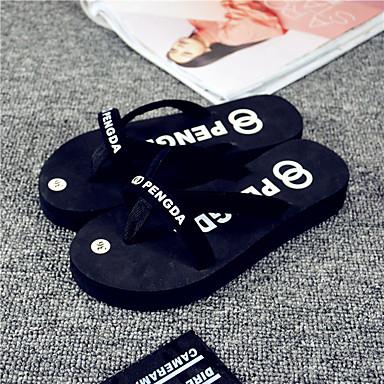 Dames Schoenen Rubber Lente Zomer Comfortabel Slippers & Flip-Flops Platte hak voor Causaal Zwart