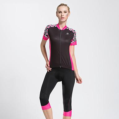 TASDAN Dames Korte mouw Wielrenshirt met shorts - Zwart Roze Fietsen 3/4 maillot/Kuitbroek Shirt Pakken, Sneldrogend, Ademend,