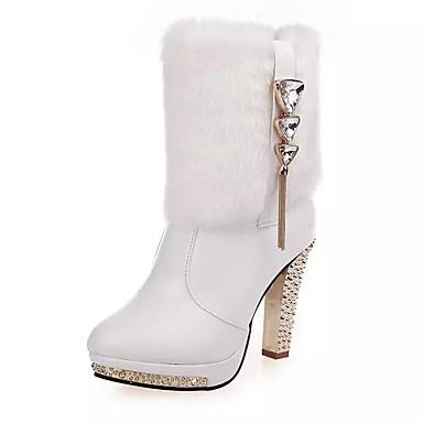 Mujer Zapatos Cuero Otoño / Invierno Confort / Botas de Moda Botas Tacón Stiletto Cremallera / Borla Blanco / Negro / Fiesta y Noche F0F1yR