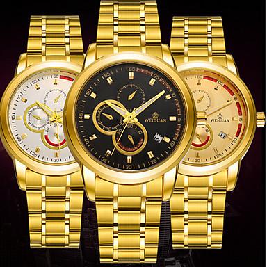 BOSCK Herrn Mechanische Uhr Kalender / Wasserdicht / leuchtend Edelstahl Band Luxus / Freizeit / Weltkarte Muster Gold / Automatikaufzug / KC 377A