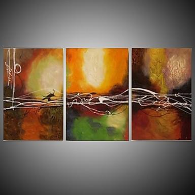 Pintados à mão Abstracto Pinturas a óleo,Modern / Clássico / Tradicional / Realismo / Mediterrêneo / Pastoril / Estilo Europeu 3 Painéis