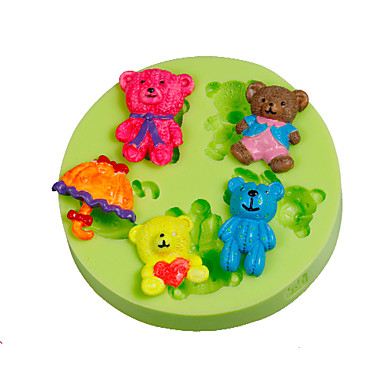 parasol bamse familie silikon fondant mold kake dekorere verktøy farge tilfeldig