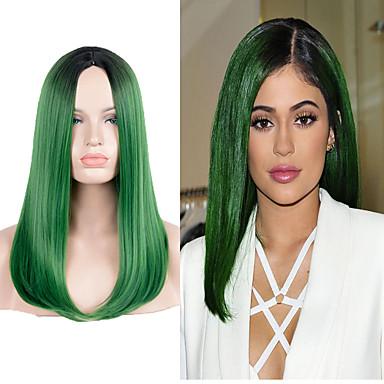 お買い得  人工毛キャップレスウィッグ-人工毛ウィッグ ストレート スタイル かつら グリーン グリーン 合成 グリーン かつら ロング / 非常に長いです キャップレスウィッグ