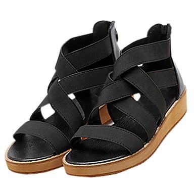 Mulheres Sapatos Tecido Couro Ecológico Verão Sandálias Plataforma Creepers Ziper Combinação para Casual Ao ar livre Preto Bege