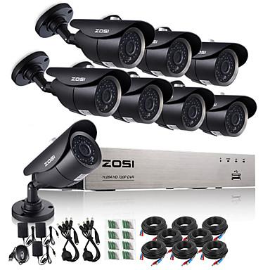 8pcs DVR sistema de vigilância câmera de CCTV 1.0 mp zosi®8ch 720p CCTV