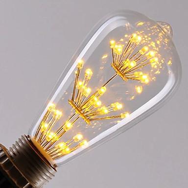 1pc 3W 300lm E26 / E27 LED-glødetrådspærer ST64 47 LED Perler Integreret LED Dæmpbar Starry Dekorativ Varm hvid 220-240V
