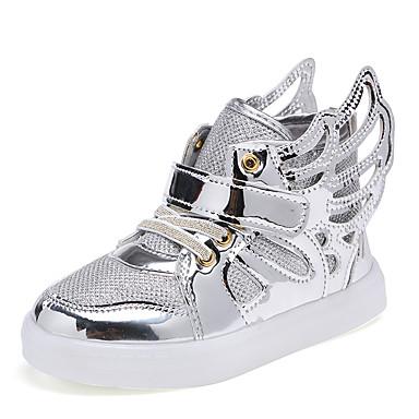 Para Meninas sapatos Couro Ecológico Primavera Outono Conforto Tênis Cadarço para Casual Prata Rosa claro Dourado