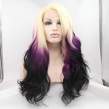 Synteettiset pitsireunan peruukit Luonnolliset aaltoilevat Luonnollinen hiusviiva Tiheys Lace Front Naisten Violetti Luonnollinen peruukki