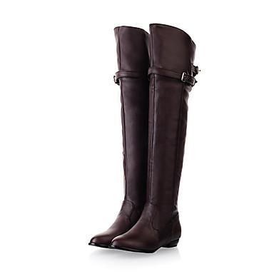 Feminino Sapatos Courino Outono Botas Sem Salto Para Casual Preto Bege Marron