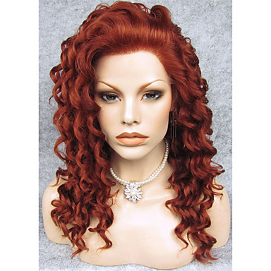 povoljno Perike i ekstenzije-Sintetičke perike Kovrčav Stil Lace Front Perika Kestenjast Sintentička kosa Crvena Perika