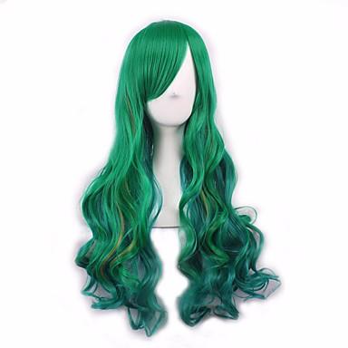 緑色の長いウェーブヘア耐熱毛安い合成かつら