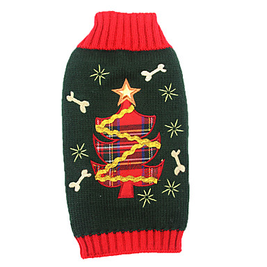 ネコ 犬 セーター セット 犬用ウェア アクリル繊維 冬 キュート ホリデー クリスマス 花/植物 ブラック ペット用