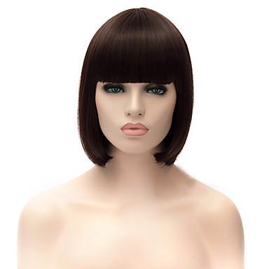 Syntetiske parykker Rett Asymmetrisk frisyre Syntetisk hår Naturlig hårlinje Brun Parykk Dame Mellemlængde Lokkløs Mørk Kastanjebrun