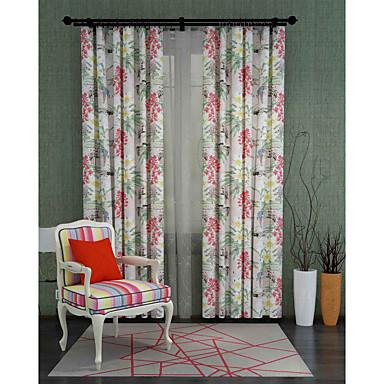 Barra no Interior Anéis Presilhas Duplo Plissado Um Painel Tratamento janela Designer , Flor Sala de Estar Poliéster Material Cortinas